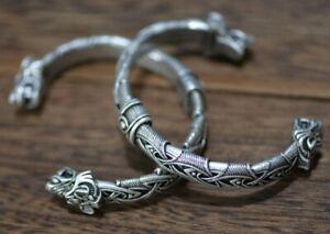 Heavy Norse Viking Wolf Head Silver Open Bracelet Dragon Fenrir Bangle 62g J2