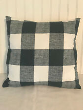 "Gunmetal Gray and White Buffalo Plaid 18 x `18"" Linen Pillow Cover"
