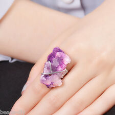 BD New Fashion Homemade Purple Spar Natural Stone Jewelry Adjustable Ring