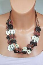 Markenlose Modeschmuck-Halsketten & -Anhänger aus Holz mit Perlmutt-Hauptstein