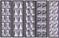 BILLIE HOLIDAY JAZZ ICON SET OF 5 MINT VIGNETTE STAMP STRIPS