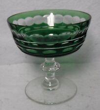 "VAL ST. LAMBERT crystal BLARNEY GREEN pattern Sherbet Champagne Goblet Glass 4"""