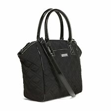 Vera Bradley Trimmed Satchel Tags Quilted Classic Black Microfiber Faux Leather handbag