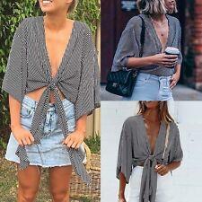 Women Summer Off Shoulder Crop Top Long Sleeve Loose Shirt Fashion Blouse POP