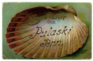 TN Tennessee Pulaski Clam Shell Greetings Giles County Postcard