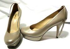 YSL #25766599 Yves Saint Laurent Beige/Gold Tribtoo Leather Strapped Pumps 40
