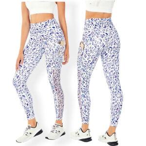 Fabletics Leopard Print Leggings Powerhold High Waisted Pockets White Medium