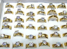 bulk Lots 36pcs Real CZ wedding lady's plated 24k gold+2.0 stainless steel rings