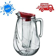 Pitcher With Ice Container Red Lid 87.25 Oz Glass Water Tea Juice Sangria Punch
