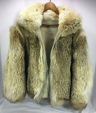 Women's or Men's Genuine Coyote Fur & leather Reversible Coat Beige Sz L