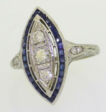 Antique 18K WG 1.20CTW VS/G diamond/Blue sapphire navette filigree cocktail ring