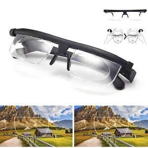 !Dial Adjustable Glasses Variable Focus Reading Distance Vision Eyeglass Eyewear