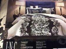 INC International Concepts Tango king Duvet/Comforter Cover Ivory/Black Floral