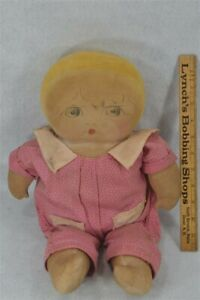 old cloth rag doll 17 in. girl painted face plump 1920 original