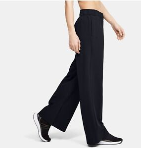 Under Armour Women Athlete Recovery Size S Athletic Wide Leg Pants $100 Black