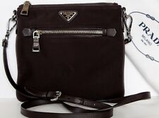 PRADA~ 1128~Brown Leather~Bandoliera Nylon~Crossbody Messenger Bag Tessuto  Rare 134e5c051f063