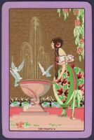 Playing Cards Single Card Old Art Deco Named THE FOUNTAIN Lady Girl Birds Art 3