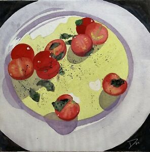 Original watercolor painting By Awards Winning Artist - Cherry Tomato With Basil