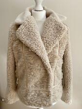 Anthropologie Marrakech Faux-Fur Moto Jacket. Cream. Small. RRP £170