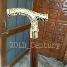Nautical Brass Style Designer Head Handle Vintage Wooden Walking Stick Cane Gift