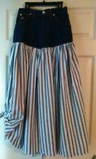 Becca Sport denim and striped fabric maxi skirt. Rhine stone embellish. Sm. NWOT