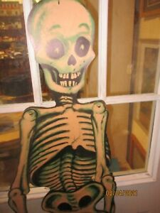 """Vintage Large Jointed Halloween Skeleton 55"""" Paper Wall Decor"""