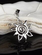 "Sterling Silver 925 Celtic Swirl Tribal Sun Pendant Necklace 16/18/20"" Gift Box"