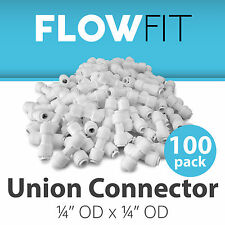 """Union Connector 1/4"""" Fitting Connection Parts Water Filters / RO System - 100 PK"""