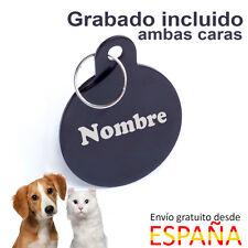 Placa para perros identificativa redonda color negro chapa perros