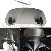 Motorcycle Adjustable Clip On Windshield Extension Spoiler Wind Deflector Gray
