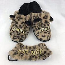 Dearfoams Large 9-10 Leopard Cat Nap Slippers X Sleep Mask Set