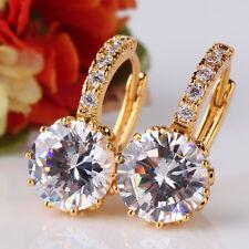 Vintage 24k Gold Filled Clear Diamond-Cut Sapphire Crystal Women Lady Earrings