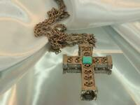 Ornately Detailed Vintage 80's Modernist Large Silver Tone Cross Necklace 797My0