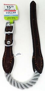 TOP PAW Brown Leather Dog Collar (S) (NEW)