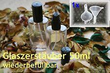 Parfum-Flakon - 50ml m. Zerstäuber - oval - nachfüllbar/leer - inkl. 1Trichter