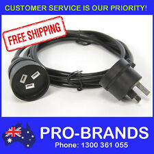 2-Metre Power Extension Lead 1mm Cord Cable Wire Piggy Back Black 2M Piggyback