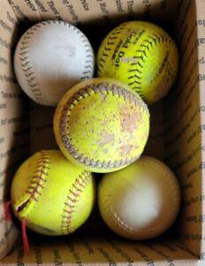 "Lot of 5 used practice Softballs 12"""