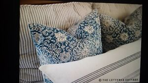 "S/2 VERY HTF Pottery Barn KRISTINE Pillow Covers 20"" x 20"" BLUE Farmhouse NEW!"