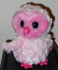 """Ty Beanie Boos ~ TWIGGY the 6"""" Pink Owl ~ Stuffed Toy ~ 2017 BRAND NEW ~ IN HAND"""