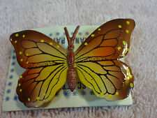 Yellow Enamel Butterfly Pin Vintage Hand Painted Brown and