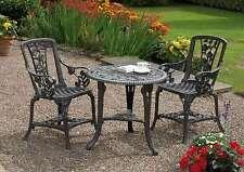 Patio Set Repro Garden Table And Chairs Gun Bistro Set Gunmetal Grey Finish