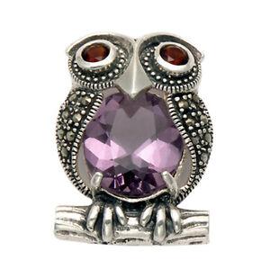 925 Sterling Silver Marcasite Owl Bird w/Garnet & Amethyst Brooch Pin