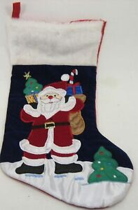 """Christmas Stocking Appliqued & Embroidered Design 16 1/2"""""""