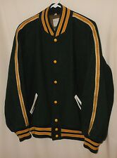 Vtg Letterman Varsity Jacket Sand Knit Wool Baseball Style Beaver Patch 48