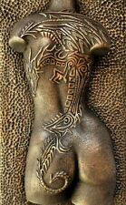 Girl Dragon Tattoo Bronze Nude Erotic Female Torso Sculpture Plaque Wallart back
