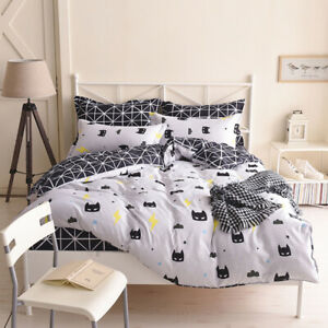 Cartoon Batman White Quilt/Doona/Duvet Cover Set King Size Bed Linen Pillowcase
