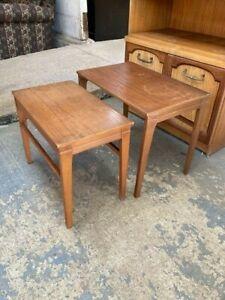Vintage Mid Century Brown Teak Nest of 2 Tables Side End Coffee