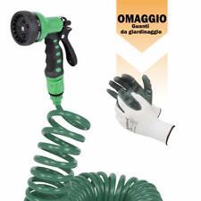 Tubo flessibile a spirale 15mt acqua innaffiare piante giardino con pistola