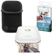 "NEW HP Sprocket Portable 2x3"" Photo Printer + Zink Photo Paper + Sleeve Bundle"