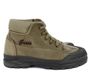 Guess Vintage Women's Army Green Brown Rubber Toe Boots Size 10 Lace Up Shoes